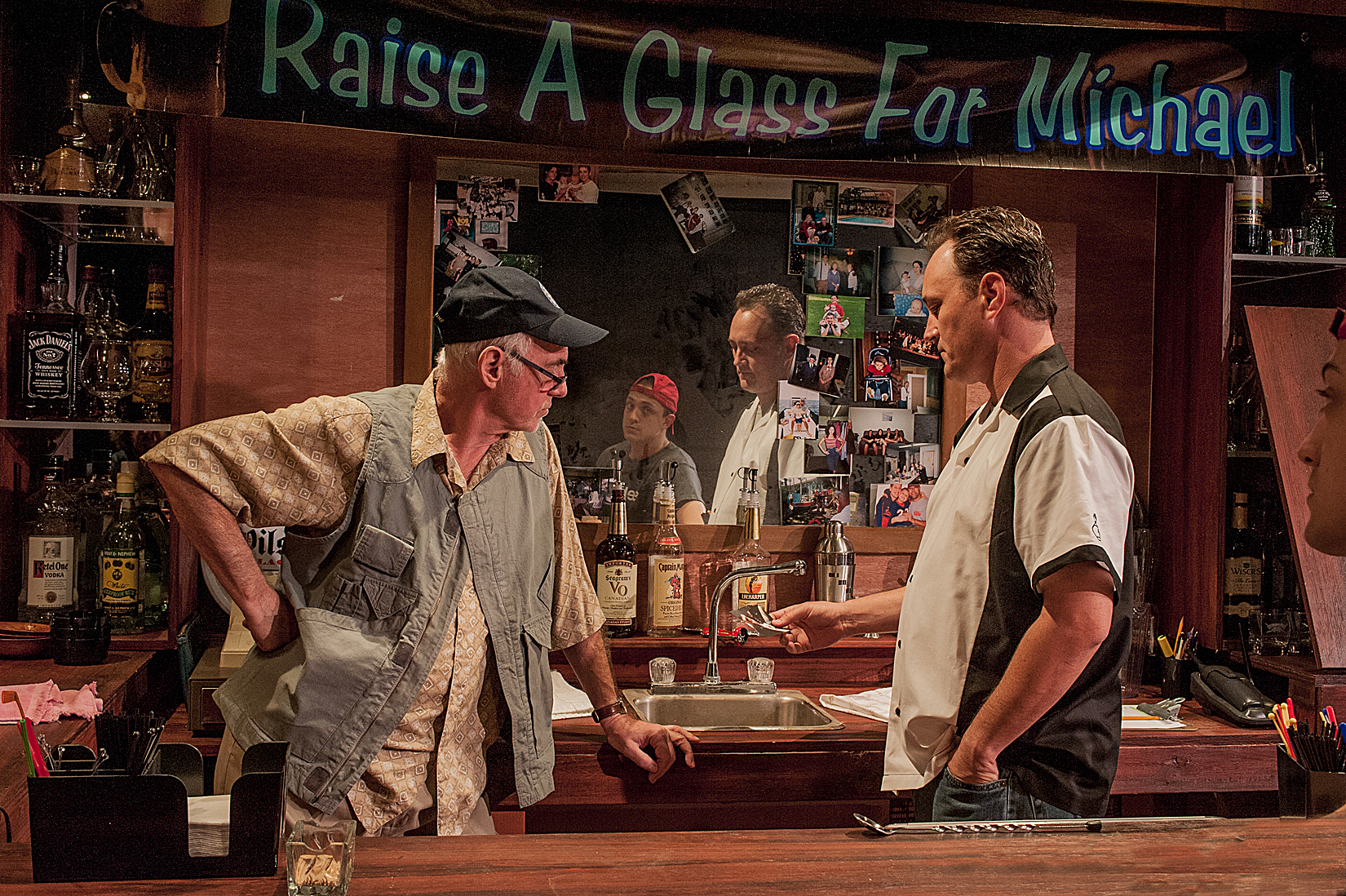Bar owner Dennis Creaghan confronts his son Todd Allen Durkin as Andrew Wind looks on in the world premiere of Joe Caralco's A Measure of Cruelty at the Mosaic Theatre / Photo by George Schiavone