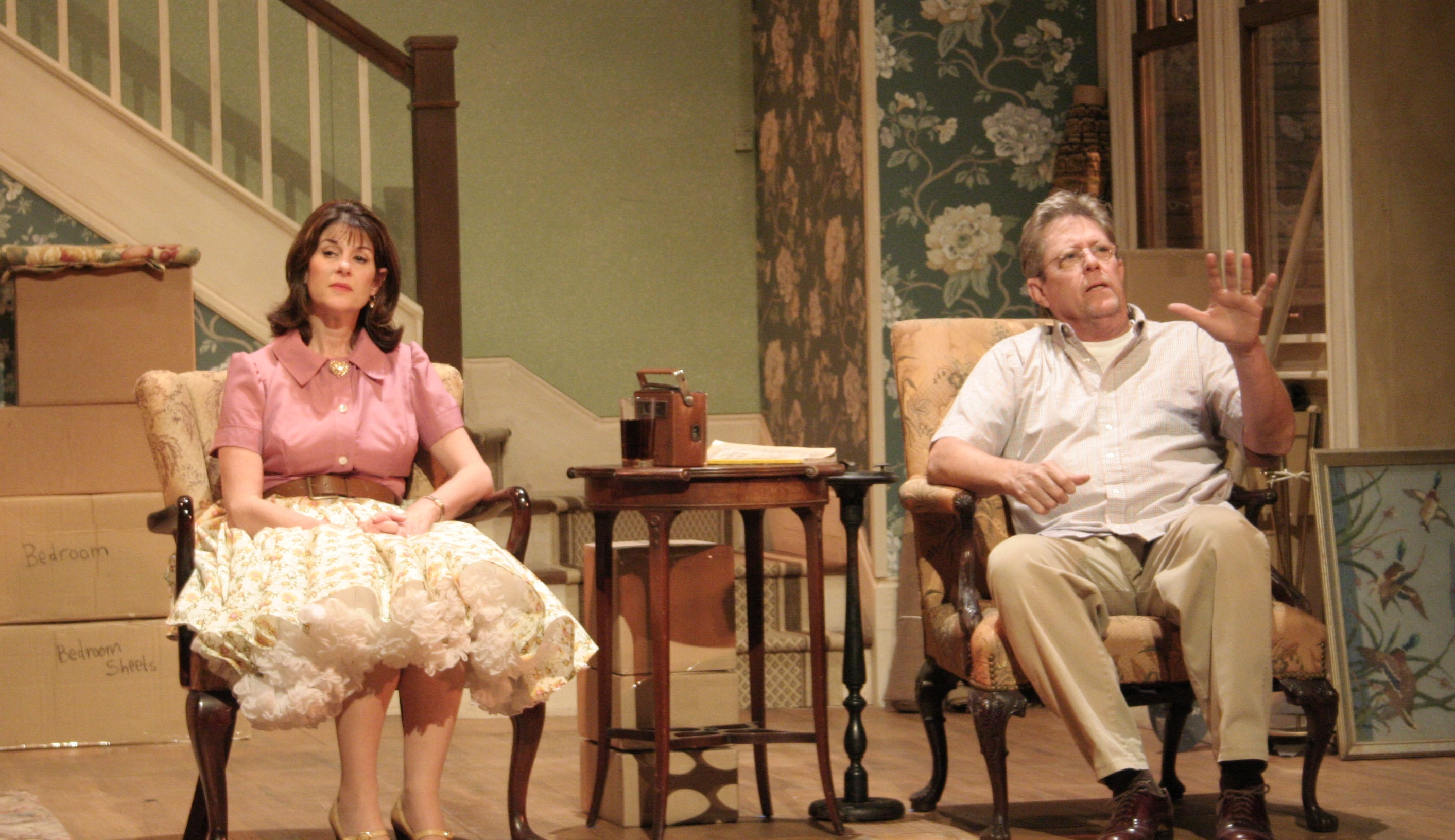 Pictured: Patti Gardner (Bev/Kathy) and Kenneth Kay (Russ/Dan) Photo by Tim Bennett. Caldwell Theatre Company.
