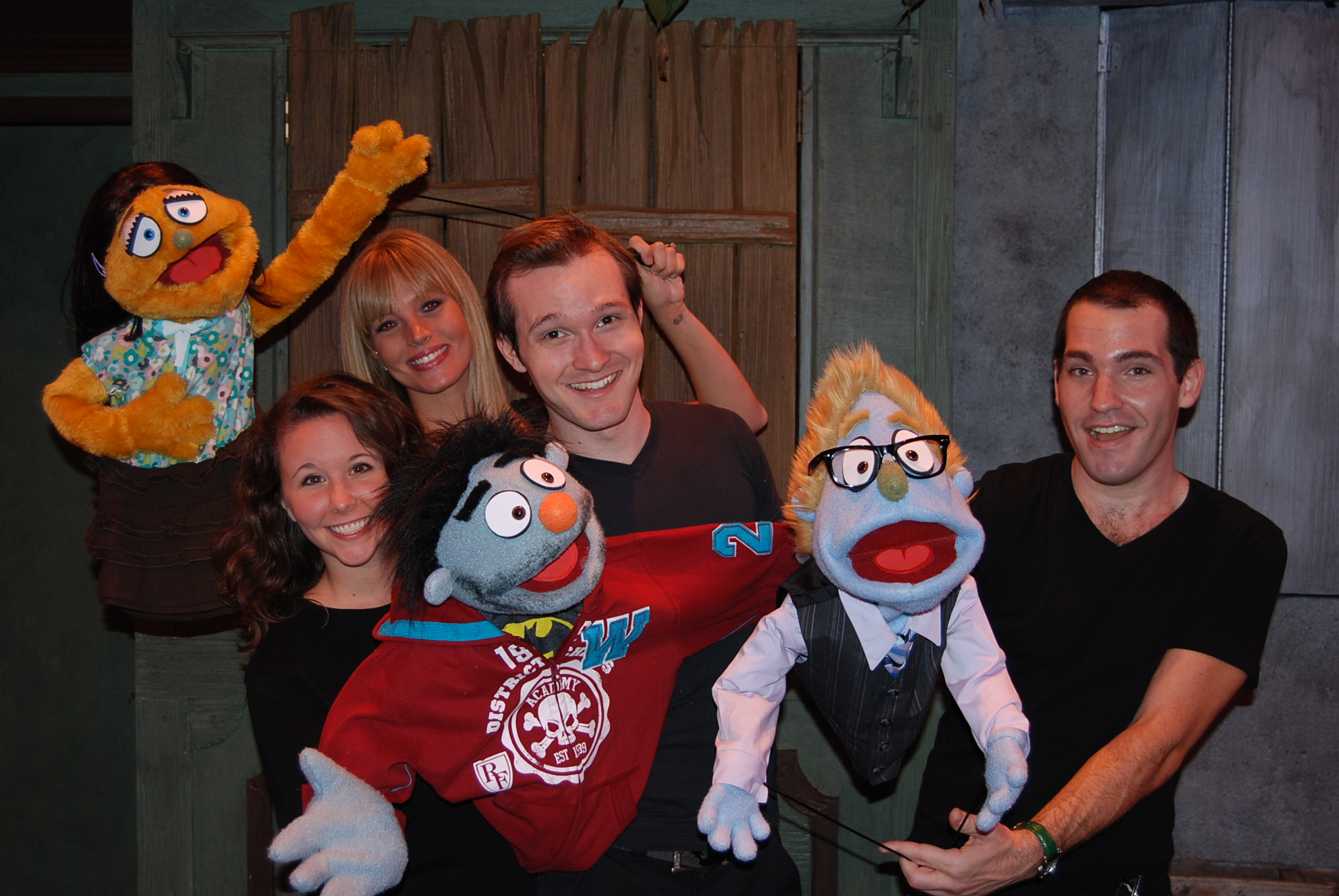Courtney Poston, Nicole Piro, Christian Vandepas, Mike Westrich, Kate Monster, Nicky & Rod in Slow Burn Theatre's Avenue Q / Photo by Matthew Korinko