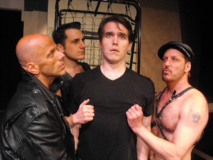 Randy Charleville, Frank Vomero and Larry Buzzeo unnerve Clay Cartland as the title character in Miami Beach Stage Door Theatre's Jeffrey / Photo by David Torres