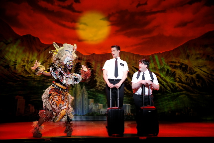Mark Evans and Christopher John O'Neill have a Lion King moment in The Book of Mormon / Photo by Joan Marcus