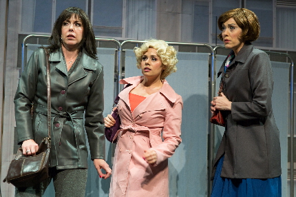 Katie Angell Thomas, Jesica Crilley and Jennifer Hope plot the downfall of their sexist boss  / Photo by George Wentzler
