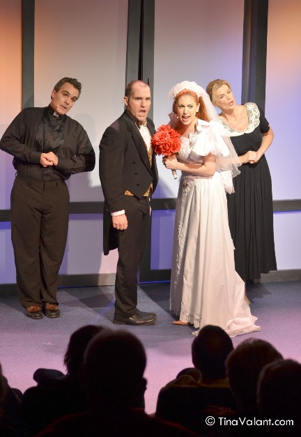 Wayne LeGette, Mike Westrich, Leah Sessa and Mia Matthews in The Plaza Theatre's I Love You, You're Perfect, Now Chang