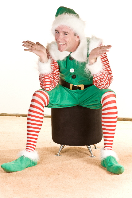 Jamie Morris as Crumpet the elf in Empire Stage's The SantaLand Diaries