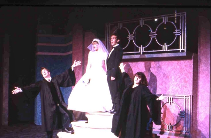 The same scene in 1998-99's production at Actors' Playhouse with Stephen G. Anthony, Jennifer Hughes, Wayne LeGette and Margot Moreland. The lattice above their heads is the one that will fall on LeGette's head. / Photo courtest of Brooke Noble at Actors' Playhouse
