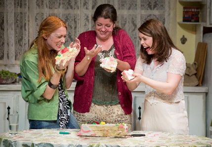 Faiza Cherie, Meredith Bartmon and Ursula Anderman as the three MaGrath sisters in a belated birthday party in Cromes of the Heart at Broward Stage Door / Photos by George Wenztler