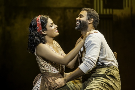 Bess (Alicia Hall Moran) and Porgy (Nathaniel Stampley) glory in their new found love in the retooled revival of the Gershwin-Heyward folk opera at the Kravis / Photo by Michael J. Lutch