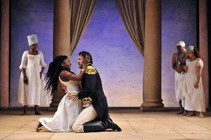 Jonathan Cake as the smitten Napoleonic warrior and American Joaquina Kalukango as a ,Haitian Queen in the Royal Shakespeare Company's production of Tarell Alvin McCraney reimagined take on Shakespeare's Antony and Cleopatra / Photo by Hugo Glendinning