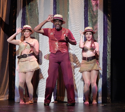Rehearsal photo of Reggie Whitehead as the Leading Player in BRTG's Pippin