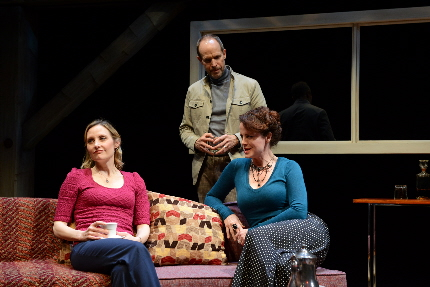 Shannon Koob, Craig Wroe and Pilar Witherspoon compare conflicting memories in Palm Beach Dramaworks' production of Harold Pinter's Old Times / Photo by Alicia Donelan