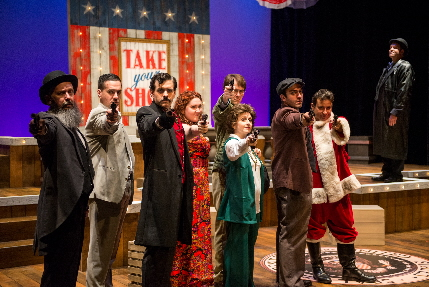 The cast of Presidential assassins in the Sondheim/Weidman musical Assassins at Zoetic Stage / Photos by Justin Namon