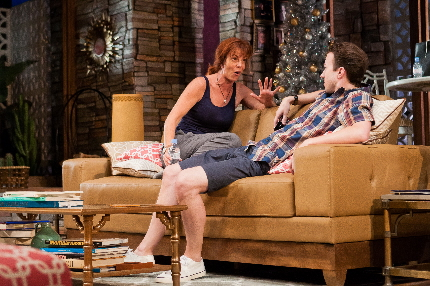 Brooke (Andrea Conte) makes her case for publishing her damaging memoir to her brother Trip (Cliff Burgess) in Maltz Jupiter Theatre's Other Desert Cities / Photo by Tim Pereira