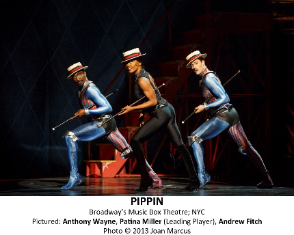 Pippin Music Box Theatre Cast List: Matthew James Thomas  Patina Miller  Andrea Martin  Terrence Mann  Charlotte d'Amboise Rachel Bay Jones  Gregory Arsenal  Andrew Cekala  Lolita Costet  Colin Cunliffe  Andrew Fitch  Orion Griffiths  Viktoria Grimmy  Olga Karmansky  Bethany Moore  Brad Musgrove  Stephanie Pope  Philip Rosenberg  Yannick Thomas  Molly Tynes  Anthony Wayne Production Credits: Diane Paulus (Direction) Chet Walker (Choreography) Gypsy Snider (Circus Creation) Scott Pask (Scenic Design) Dominique Lemieux (Costume Design) Kenneth Posner (Lighting Design) Clive Goodwin (Sound Design) Larry Hochman (Orchestrations) Nadia Di Giallonardo (Music Supervision) Charlie Alterman (Music Direction) Other Credits: Lyrics by: Stephen Schwartz Music by: Stephen Schwartz Book by: Roger O. Hirson