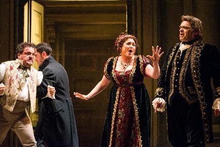 Rafael Davila, Kara Shay Thomson and Todd Thomas in a quiet reflecti ve moment of Tosca at Florida Grand Opera / Photo by Justin Namon