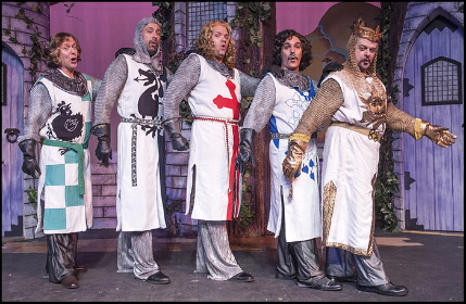 Knights of the Round Table Gabriel Zenone, Jim Ballard, Shane Tanner, Wayne LeGette support Gary Marachek as King Arthur and Paul Louis as squire Ptasy in Actors' Playhouse's Spamalot / Photo by George Schiavone