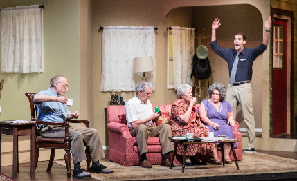 Nick tries to get the grandparents' attention in Broward Stage Door's Over The River And Through The Woods / Photo by George Wenztler