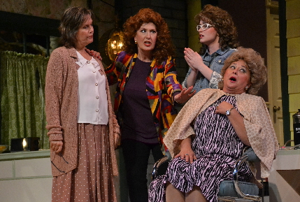 The clients at Truvy's salon wrestle with another challenge in The Wick's Steel Magnolias / Photo by Amy Pasquantonio