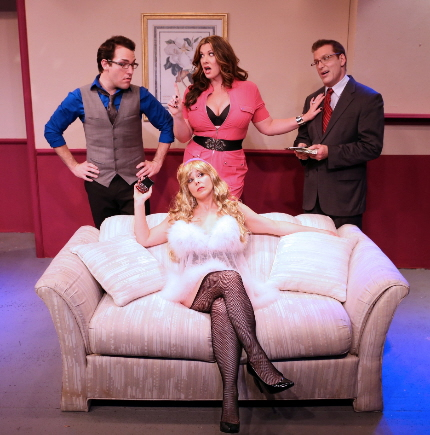 Escort manager Mike Westrich,  madame Sharyn Peoples, Larry Buzzeo and hooker Christina Groom are among the strange characters in Island City Stage's Have I Got A Girl For You. / Photo by Robert Figueroa