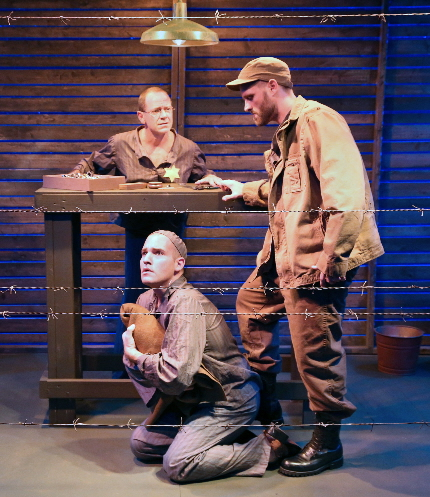 Michael McKeever watches in horror as Matt Stabile abuses Mike Westrich in Island City Stage's The Timekeepers