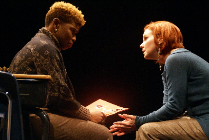 Patrice DeGraff Arenas tries to make sense of her son's suicide with his teacher Christina Groom in New Theatre's Gidion's Knot / Photo by Eileen Suarez