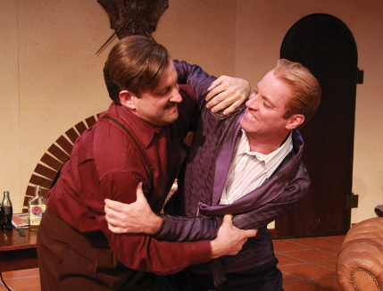 "Gregg Weiner as Hemingway and Tom Wahl as Fitzgerald grapple over the ascetic discipline of creative writing in ""Scott and Hem"" at Actors Playhouse / Photo by Alberto Romeu"