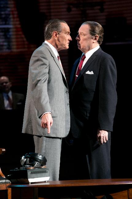 Bryan Cranston as LBJ stares down Michael McKean as J. Edgar Hoover in All The Way / Photo by Evgenia Eliseeva