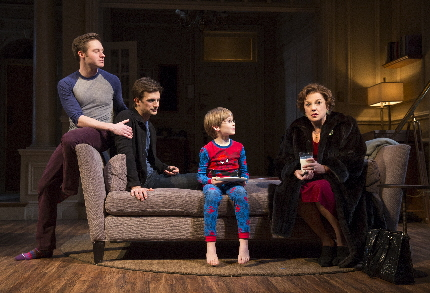 Bobby Steggert, Frederick Weller, Grayson Taylor and Tyne Daly share another uncomfortable moment in Terrence McNally's Mother And Sons / Photo by Joan Marcus