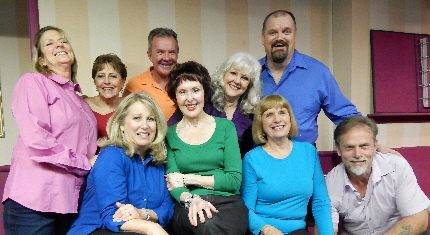 Pigs Do Fly troupe: Front row from left to right: Beverly Blanchette, Ellen Wacher, Marj O'Neill Butler, Todd Caster; Back row from left to right: Janet Weakley, Carol Sussman, Mark Kroczynski, Kitt Marsh, Troy Stanley