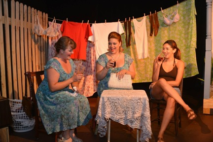 Breeza Zeller, Andrea Bovino and Gladys Ramirez, three specimens of Texas steel cacti trade liquor-laced gossip in Alliance Theatre Lab's Laundry & Bourbon / Photo by Gertrude Rodon
