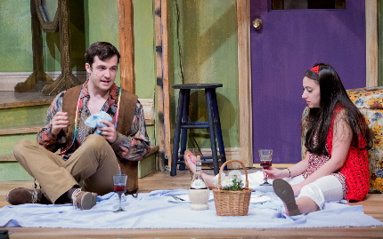 Britt Michael Gordon has an impromptu picnic with Gina Marie Jamieson in Broward Stage Door's Butterflies Are Free / Photo by George Wenztler