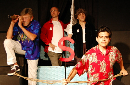 Jim Gibbons, Seth Trucks, Luis Herrera and Michael Mena as a doomed ship is about tp run aground in Evening Star's production of The Comedy of Errors / Photo by Carol Kassie