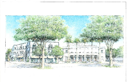 Architect Thomas Spain's rendering of one potential look for the Coconut Grove Playhouse under a new scenario being developed by the Coconut Grove Theater Foundation Inc.