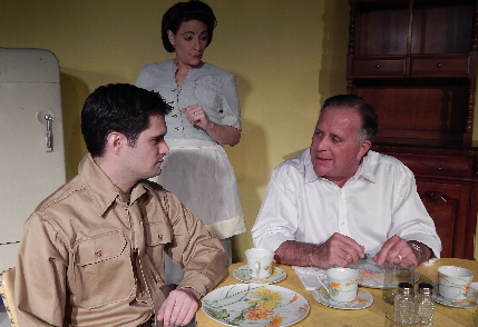 Returning WW II vet Evan Gertel reconnects in a rare moment of amity with parents Elli Murray and Alan Gerstel in Evening Star Productions' The Subject Was Roses / Photo by Carol Kassie
