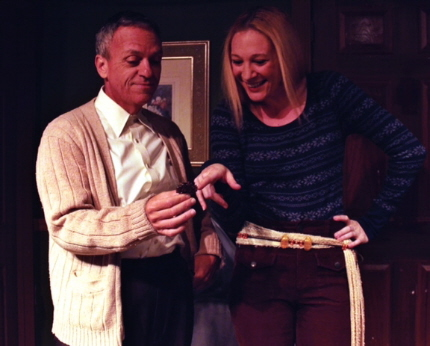 Be careful. Nothing is as it seems as kindly Irish caretaker Bill Battaglia shows some handiwork of the title character to visitor MJ Baum in Andrews Living Arts' Veronica's Room