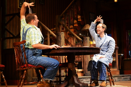 Mathew Minor and Andre Sellon ape each other in the Maltz Jupiter Theatre's The Foreigner / Photo by Jen  Vasbinder