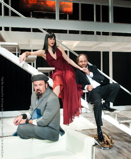Paul Tei, Jessica Farr and Gregg Weiner as the triangle in Hedda Gabler at Miami Theater Center / Photo by Mitchell Zachs