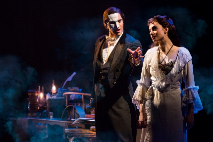 Cooper Grodin tries to entice Julia Udine in the new tour of The Phantom of the Opera / Photo by Matthew Murphy