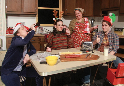 Not your average holiday gathering: Jeni Hacker, Deborah L. Sherman, Elizabeth Dimon and Clay  Cartland in Actors Playhouse's Miracle On South Division Street /  Photo by Alberto Romeu