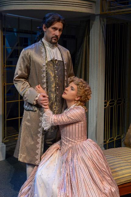 Jim Ballard attempts to seduce Katie Fabel in Palm Beach Dramaworks' Les Liaisons Dangereuses