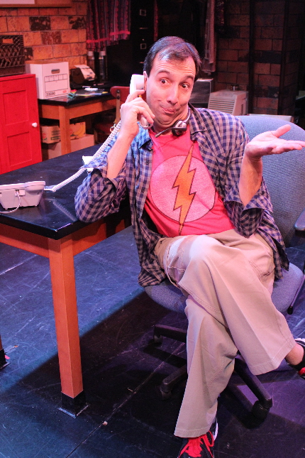 John Manzelli as a harried scheduler at a trendy restaurant in Fully Committed at Broward Center / Photo  by Natalie Tavares