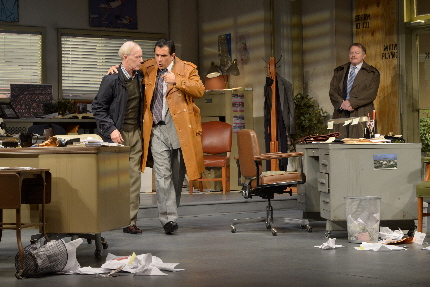 Peter Allas puts he hard sell on Dan Leonard while Rob  Donohue watches in the Maltz Jupiter Theatre's Glengarry Glenn Ross / Photo by Alicia Donelan