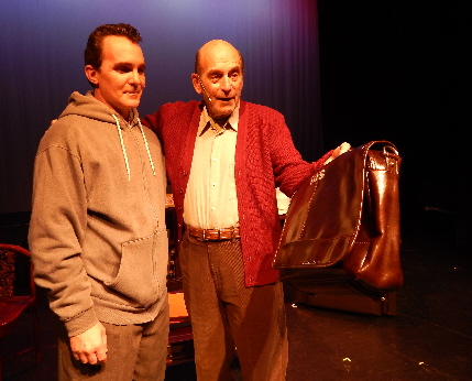 Mitch (Wayne LeGette) gets a weekly lesson in life from the dying Morrie (Howard Elfman) in Boca Raton Theatre Guild's Tuesdays With Morrie / Photos by Carol Kassie
