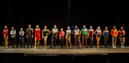 The hopefuls in Broward Stage Door's A Chorus Line / Photo by George Wentzler