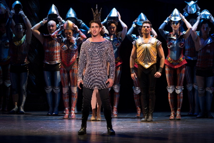 Sam Lips leads the cast in the Glory number in Pippin's national tour / Photo by Martha Rial