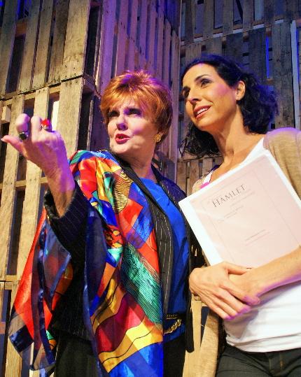 Kitt Marsh tries to inspire Susie Kreitman Taylor in New Theatre's Women Playing Hamlet / Photo by Eileen Suarez