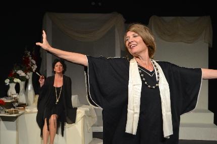 Barbara Sloan as an expansive Virginia Woolf entertains Niki Fridh as Vita Sackville-West in Thinking Cap Theatre's Vita and Virginia / Photo by Nicole Stodard