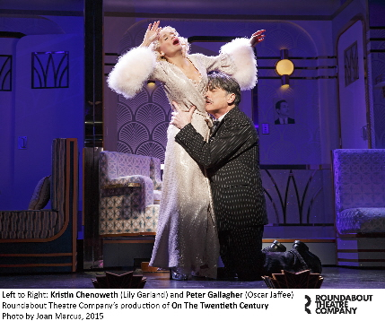 Peter Gallagher as producer Oscar Jaffe begs Kristin Chenoweth as former protege Lily Garland to come back to him personally and professionally in On The 29th Century / Photo by Joan Marcus