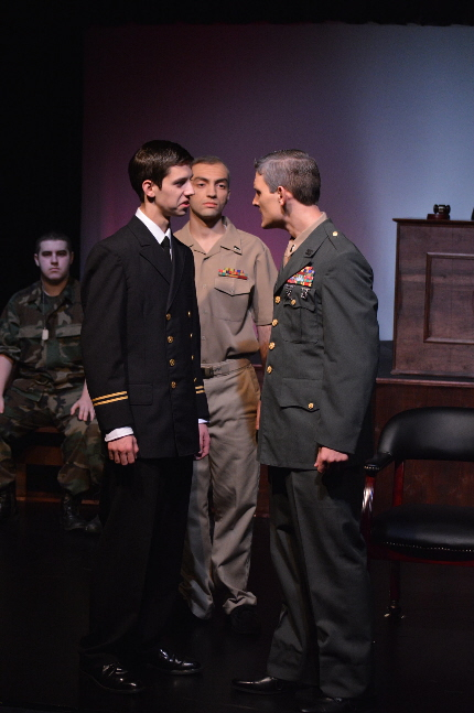 Students from Archbishop McCarthy High School in a scene from A Few Good Men, judged best play in the Cappies Tuesday