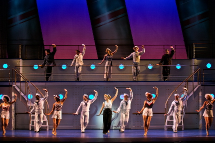 The high point of the national tour, Emma Stratton leads the kids in the title song of Anything Goes / Photo by Jeremy Daniel