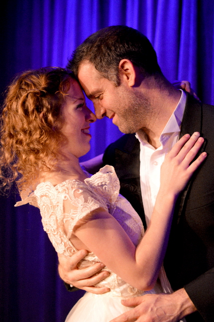 Sara Grant and Ben Sandomir in a rare moment of togetherness in The Last Five Years at Evening Star Productions / Photo by Murphy Hayes
